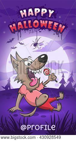 Happy Halloween. Happy Werewolf Holding Lollipop In Hand. Full Moon. Dark Night. Vector Illustration