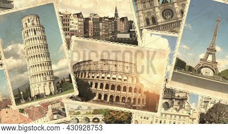 Vintage travel background with retro photos of european landmarks and grunge old paper texture. Horizontal banner with old photos of  Eiffel tower in Paris, Leaning Tower of Pisa, Colosseum in Rome