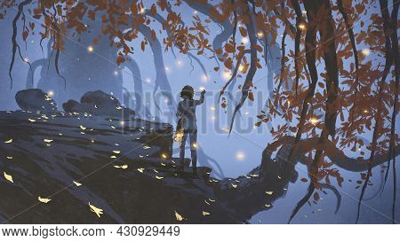 Young Woman Collecting The Glowing Leaves That Falling From The Trees, Digital Art Style, Illustrati