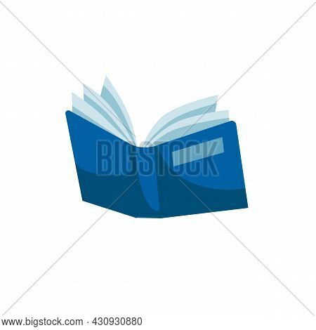 Vector Cartoon Flat Book Or Textbook Isolated On Empty Background.literary Or Scientific Printed Wor