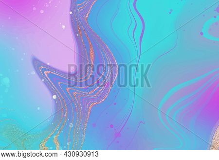 Abstract Background, Pink Marble With Blue And Lilac Stripes For Wallpaper Design. Vector Abstract P