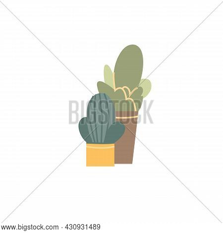 Vector Flat Cartoon Home Plants Cactuses In Pot Isolated On Empty Background-house Furniture, Room I