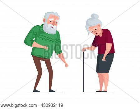 Unhealthy Sick Elderly Couple Stand. Sad Tired Senior Aged Pensioners. Weakness Old People Bearded M