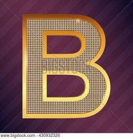 Golden Capital Latin Letter B Icon Vector Font