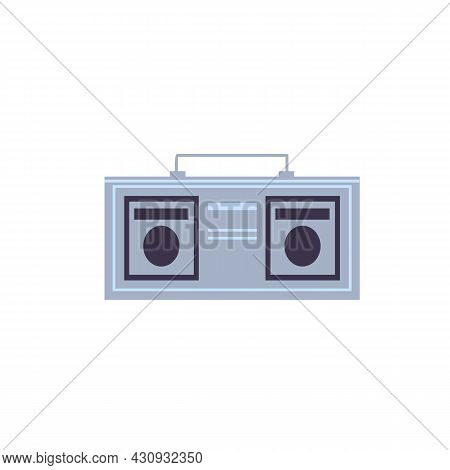 Vector Flat Cartoon Music Player Boombox Isolated On Empty Background-entertainment Devices, Electro