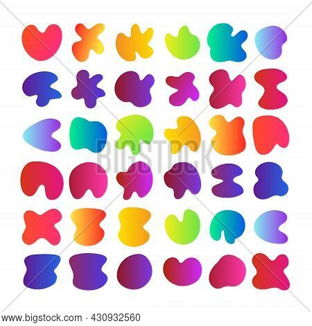 Big Set Of Simple Colorful Organic Shapes, Liquid Rainbow Gradient Background Stain Swatches. Geomet