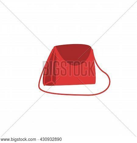 Vector Cartoon Flat Fashionable Woman Handbag.elegant Trendy Beautiful Ladies Purse Accessory Isolat