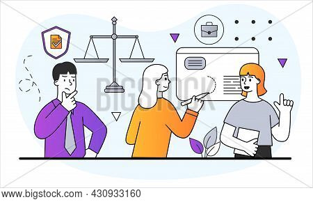 Law And Jurisprudence Concept. Students Study Rights And Freedom Of Citizens. Libra As Symbol Of Fai
