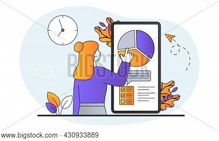 Time Management Concept. Woman Stands In Front Of Large Phone And Divides Her Working Time Into Seve
