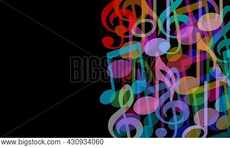 Music Background And Musical Arts Symbol As A Group Of Melody Notes Combined Together In An Audio Ha