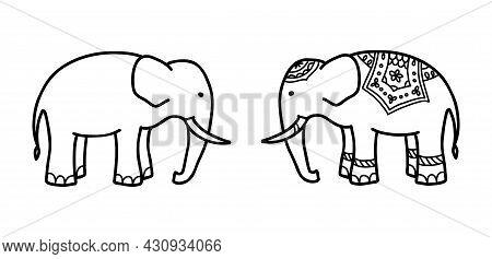 Asian Elephant Hand Drawn Isolated Illustration. Side View Of Indian Ethnic Elephant
