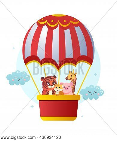 Animals Flying With Air Balloon. Tiger, Giraffe, Pig And Rodent Travel Together. Beautiful Poster Fo