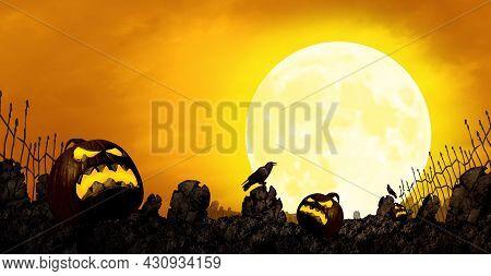 Halloween Moonlight Orange Background And Fall Season Border With Creepy Jack-o-lantern Pumpkin Mons