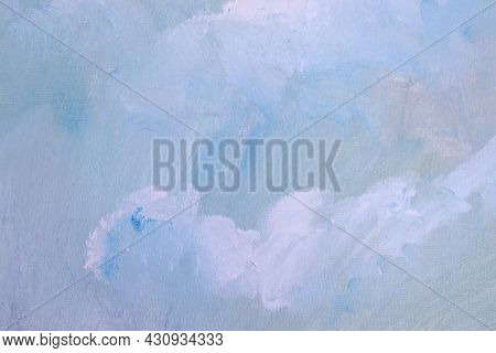 Abstract Oil Background. Canva Texture With Blue And White Paint