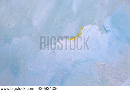 Abstract Oil Background. Canva Texture With Blue, Yellow And White Paint