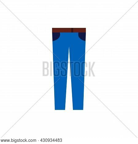 Denim Pants Or Jeans Color Line Icon. Fashion Clothes Or Apparel. Trendy Flat Isolated Outline Symbo