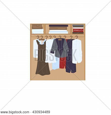 Vector Cartoon Flat Clothes Wardrobe With Different Fashionable Outfit.dresses And Blazers In Dresse