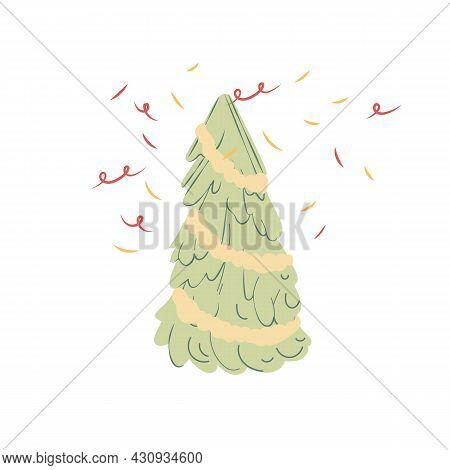 Vector Cartoon Flat Festive Xmas Tree And Confetti Isolated On Empty Background-merry Christmas And