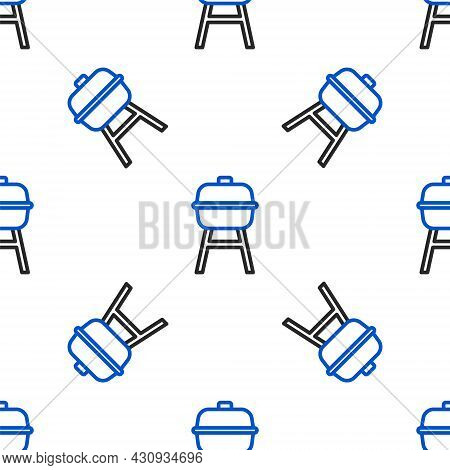 Line Barbecue Grill Icon Isolated Seamless Pattern On White Background. Bbq Grill Party. Colorful Ou