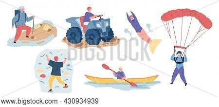 Set Of Vector Cartoon Characters In Outdoor Activities Scenes, They Ride Atv, Do Diving And Rock Cli