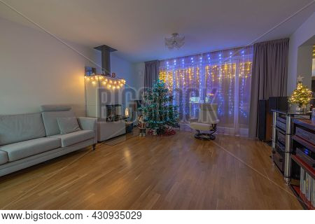 Beautiful Night View Of Room With Christmas Decoration. Beautiful Christmas Backgrounds. Sweden.