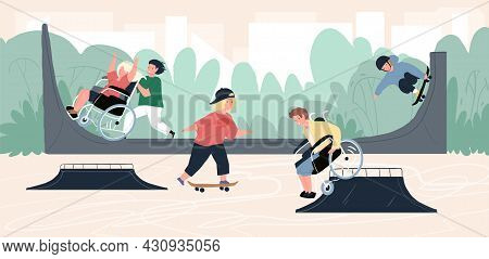 Vector Cartoon Flat Kid Characters, Healthy And Disabled Children Skating Together In Skate Park-dis
