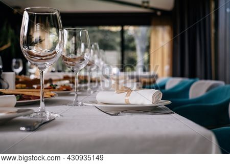 Romantic Evening Table In Restaurant For Birthday. Wedding Or Anniversary Celebration, No People, No