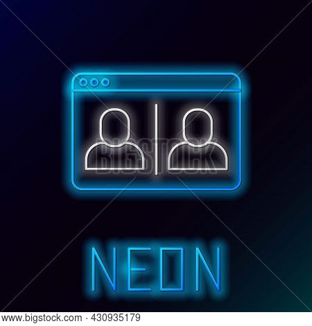 Glowing Neon Line Video Chat Conference Icon Isolated On Black Background. Online Meeting Work Form