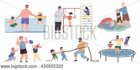 Set Of Vector Cartoon Dad And Kids Characters Doing Sports Together, They Swim In Pool, Play Ball, T