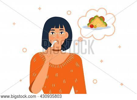 Hungry Person Concept. Woman Licks Spoon And Dreams Of Delicious Sandwich With Vegetables. Female Ch