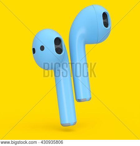Wireless Bluetooth Blue Headphones Isolated On Yellow Background