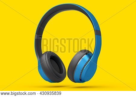 Gaming Headphones And Concept Of Music Equipment Isolated On Yellow Background.