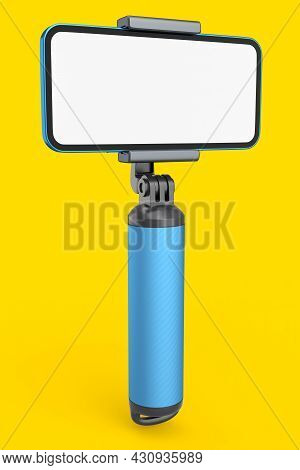 Realistic Smartphone With Blank White Screen And Selfie Stick Isolated On Yellow
