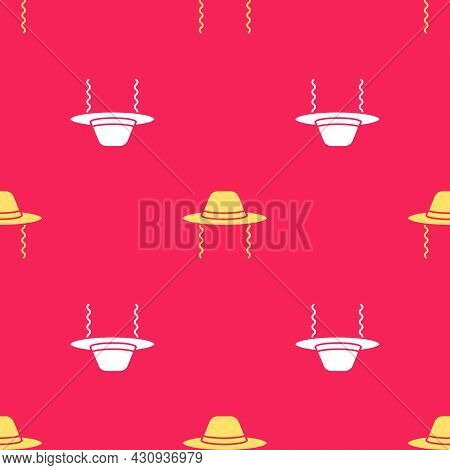 Yellow Orthodox Jewish Hat With Sidelocks Icon Isolated Seamless Pattern On Red Background. Jewish M