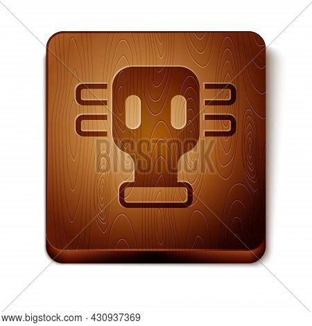 Brown Gas Mask Icon Isolated On White Background. Respirator Sign. Wooden Square Button. Vector