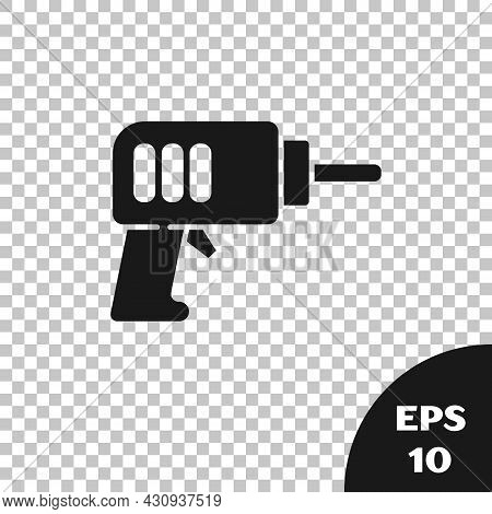 Black Electric Drill Machine Icon Isolated On Transparent Background. Repair Tool. Vector