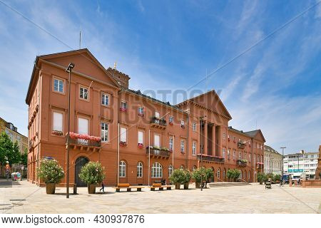 Karlsruhe, Germany - August 2021: Town Hall Administration Building At Market Square On Sunny Day