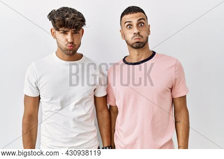 Young gay couple standing over isolated background puffing cheeks with funny face. mouth inflated with air, crazy expression.