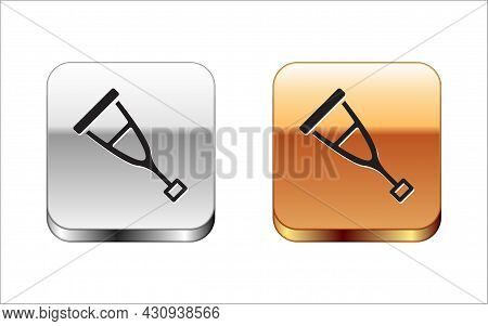 Black Crutch Or Crutches Icon Isolated On White Background. Equipment For Rehabilitation Of People W