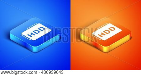 Isometric Hard Disk Drive Hdd Icon Isolated On Blue And Orange Background. Square Button. Vector