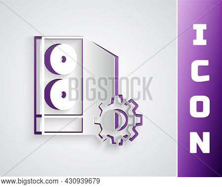 Paper Cut Case Of Computer Setting Icon Isolated On Grey Background. Computer Server. Workstation. A