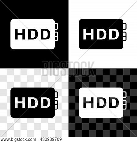 Set Hard Disk Drive Hdd Icon Isolated On Black And White, Transparent Background. Vector