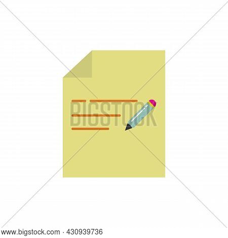 Document With Pen. Color Icon Of Notes. Sheet And Pen. Trendy Flat Isolated Symbol Sign Can Be Used