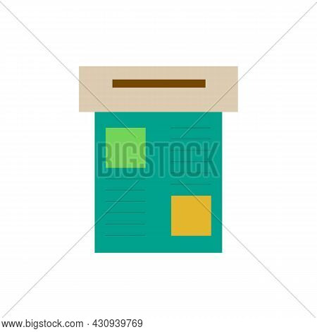 Clipboard For Paper With Infographic Or Information Color Icon. Trendy Flat Isolated Symbol Sign Use