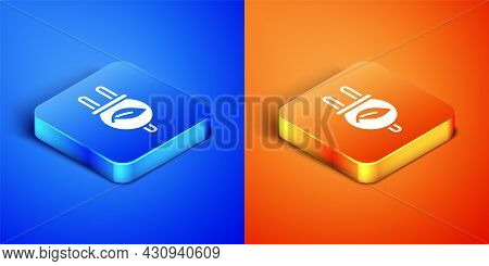 Isometric Electric Saving Plug In Leaf Icon Isolated On Blue And Orange Background. Save Energy Elec