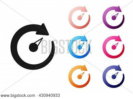 Black Digital Speed Meter Icon Isolated On White Background. Global Network High Speed Connection Da