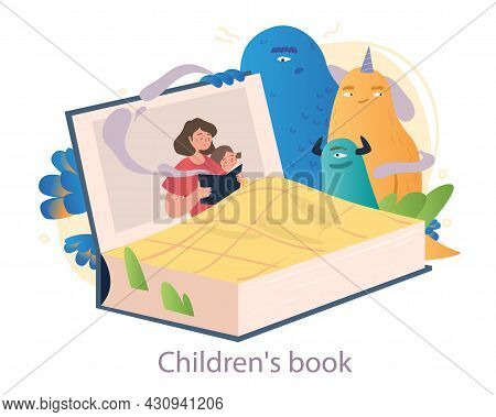 Books For Kids Concept. Mom Reads Interesting Mystical Fairy Tale Her Little Daughter. Bedtime Stori