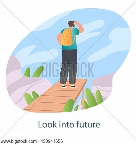 Search For New Solutions Concept. Man Stands On Bridge And Looks Ahead. Look Into Future And Choice