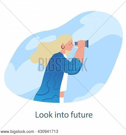Woman With Binoculars. Female Character Looking For New Solutions And Thinks About Ways Of Personal