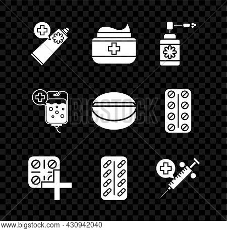 Set Ointment Cream Tube Medicine, Medical Bottle With Nozzle Spray, Pills Blister Pack, Syringe Need